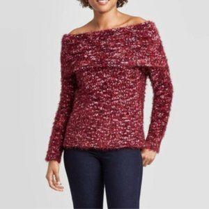🛍KNOX ROSE Women Off the Shoulder Eyelash Sweater